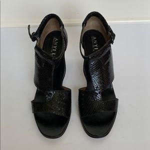 ANYI LU Black Leather Snakeskin Heels